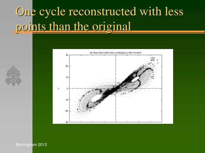 One cycle reconstructed with less points than the original
