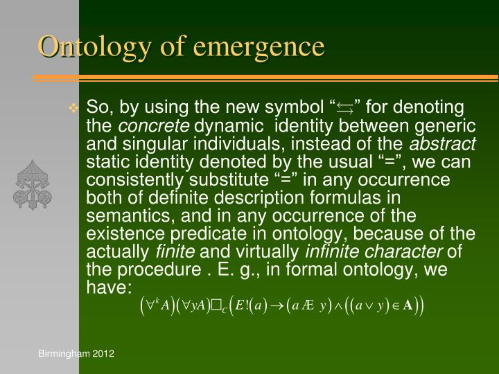 Ontology of emergence