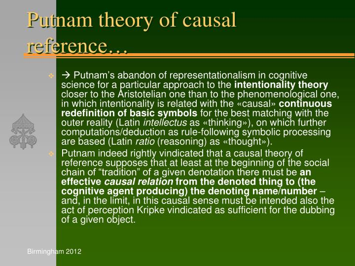 Putnam theory of causal reference…