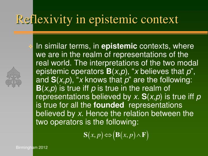 Reflexivity in epistemic context