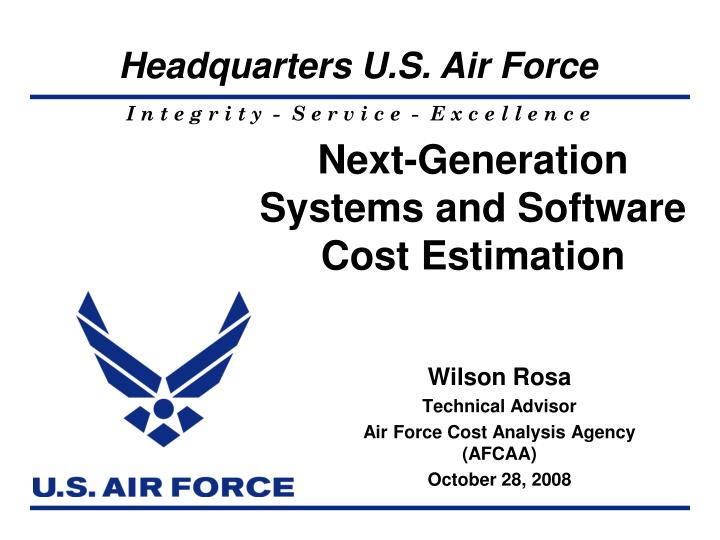 next generation systems and software cost estimation