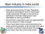 beer industry in india contd