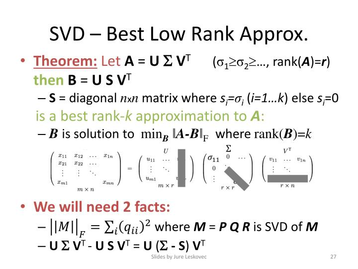 SVD – Best Low Rank Approx.