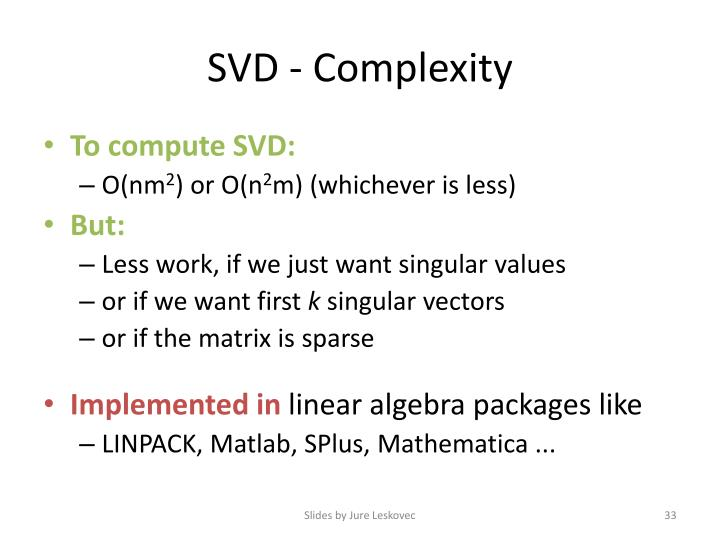 SVD - Complexity
