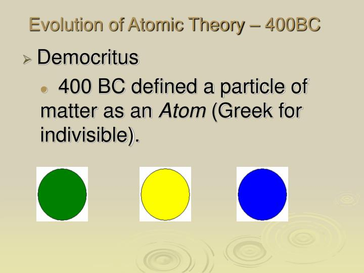 Evolution of atomic theory 400bc