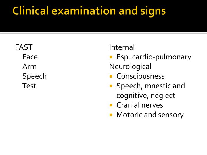 Clinical examination and signs