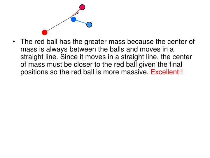 The red ball has the greater mass because the center of mass is always between the balls and moves in a straight line. Since it moves in a straight line, the center of mass must be closer to the red ball given the final positions so the red ball is more massive.