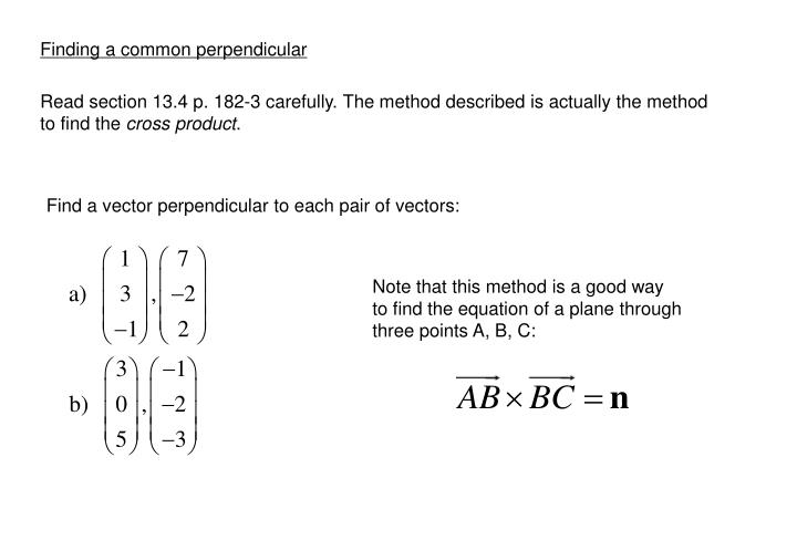 Finding a common perpendicular