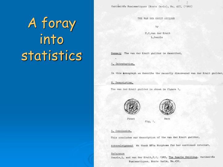 A foray into statistics