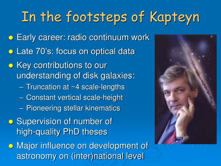 In the footsteps of kapteyn
