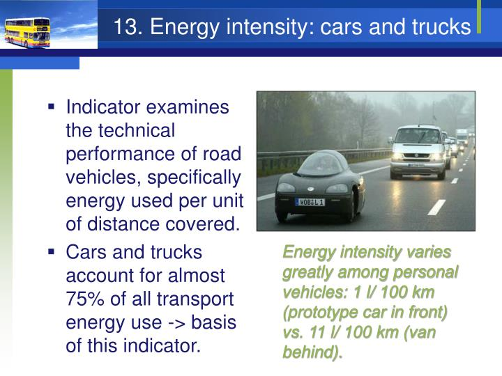 13. Energy intensity: cars and trucks