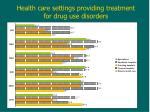 health care settings providing treatment for drug use disorders