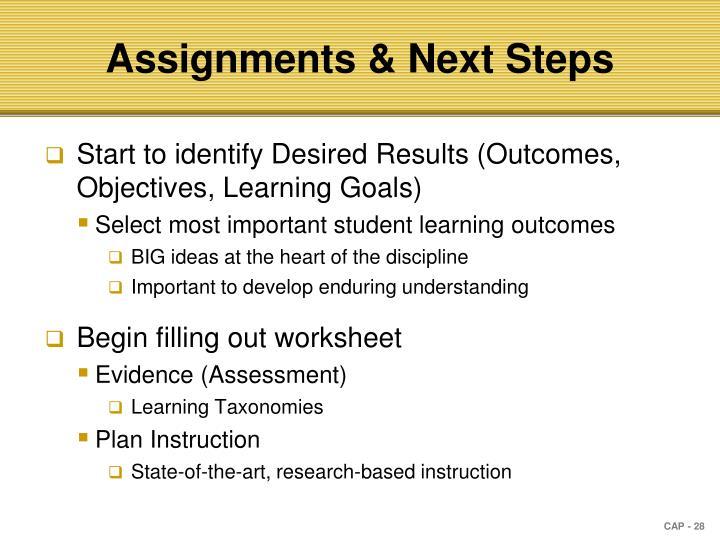 Assignments & Next Steps