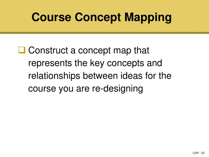 Construct a concept map that represents the key concepts and relationships between ideas for the course you are re-designing