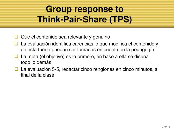 Group response to