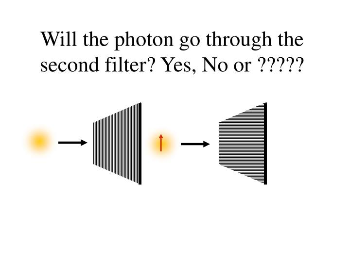 Will the photon go through the second filter? Yes, No or ?????