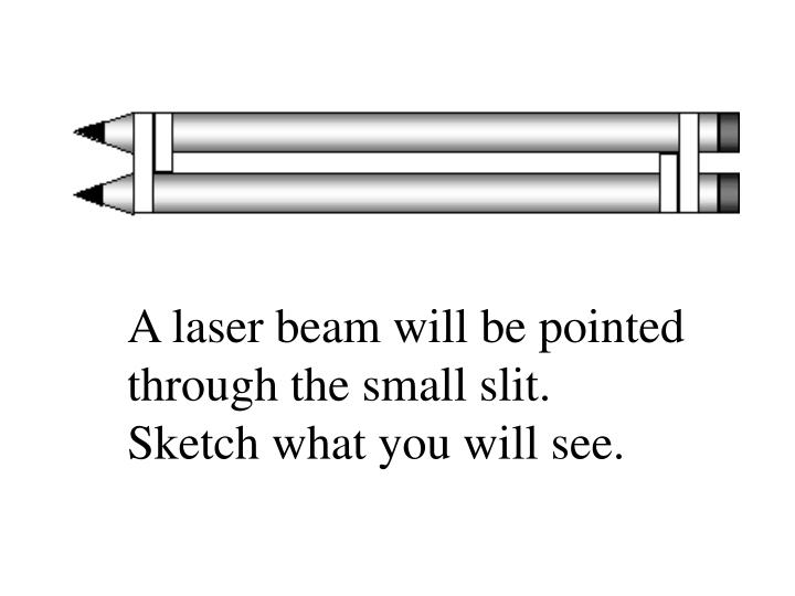 A laser beam will be pointed through the small slit. Sketch what you will see.