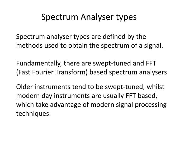 Spectrum Analyser types