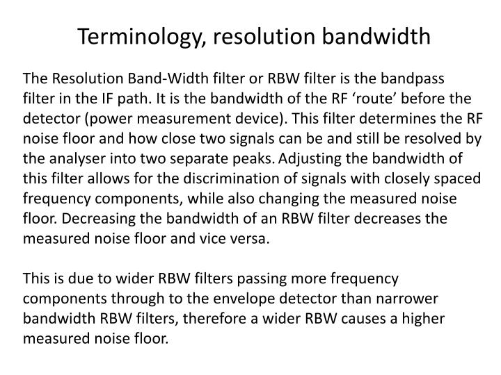 Terminology, resolution bandwidth