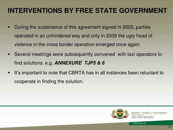 INTERVENTIONS BY FREE STATE GOVERNMENT