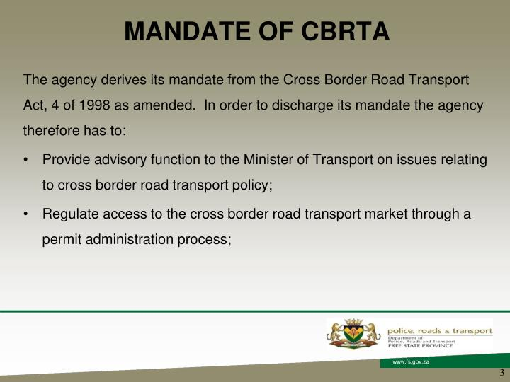 Mandate of cbrta