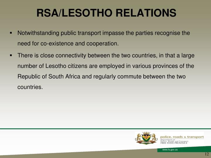 RSA/LESOTHO RELATIONS