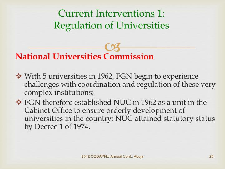 Current Interventions 1: Regulation of Universities