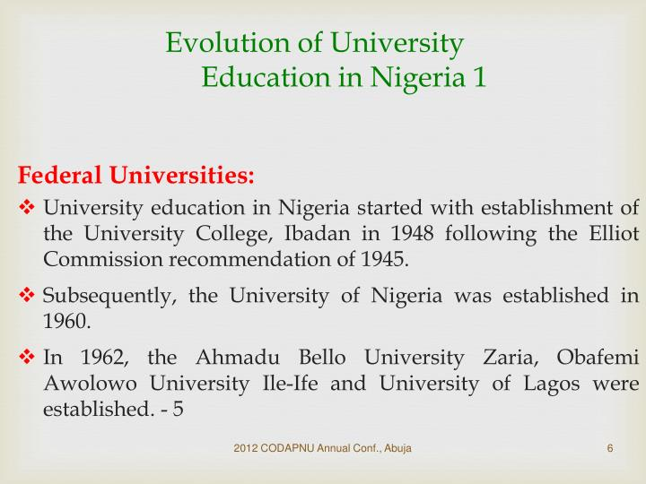 Evolution of University Education in Nigeria 1