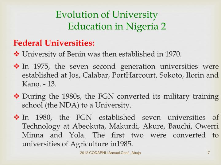 Evolution of University Education in Nigeria 2
