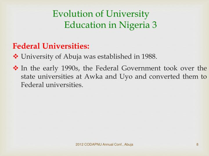 Evolution of University Education in Nigeria 3