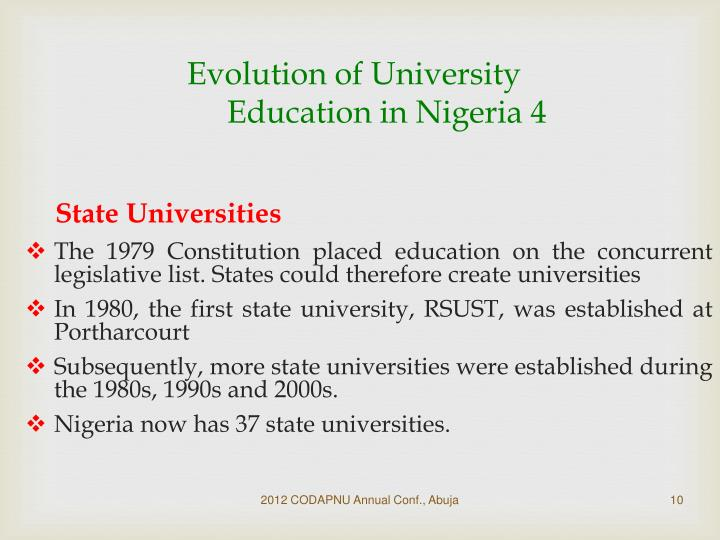 Evolution of University Education in Nigeria 4