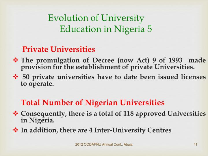 Evolution of University Education in Nigeria 5