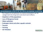 environmental effects of oil spills on marine ecosystem
