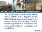 mitigation measures for oil spill management