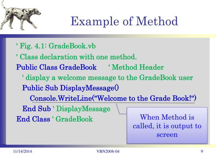 Example of Method