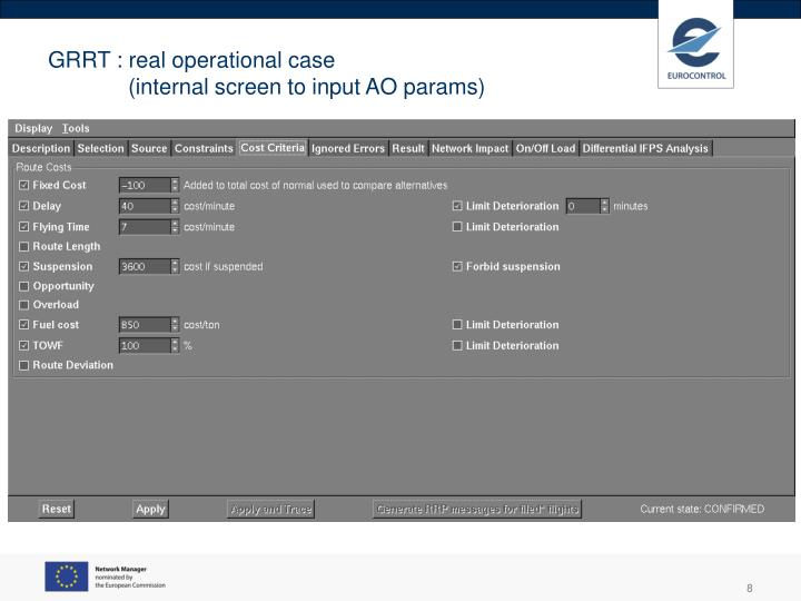 GRRT : real operational case