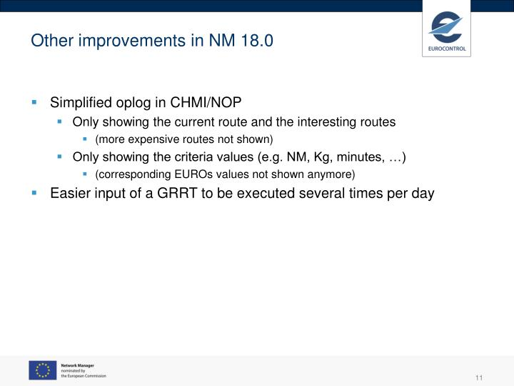 Other improvements in NM 18.0