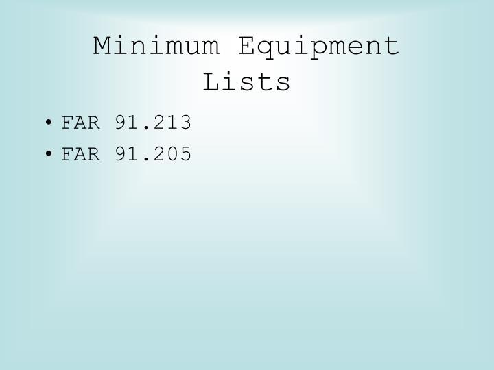 Minimum Equipment Lists