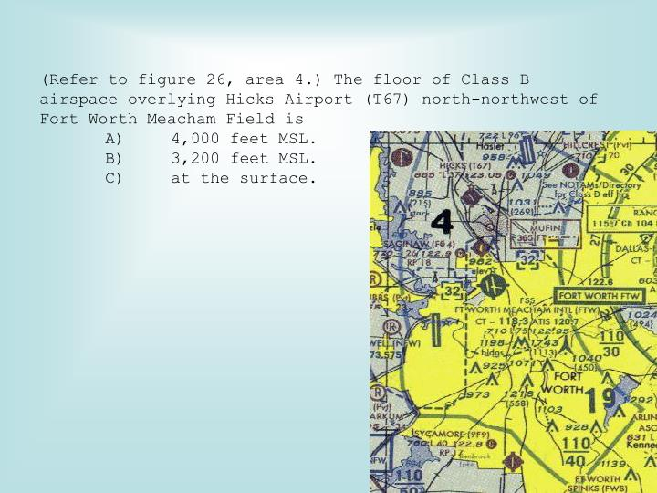 (Refer to figure 26, area 4.) The floor of Class B airspace overlying Hicks Airport (T67) north-northwest of Fort Worth Meacham Field is