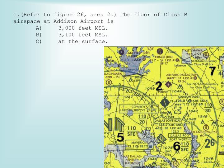 (Refer to figure 26, area 2.) The floor of Class B airspace at Addison Airport is