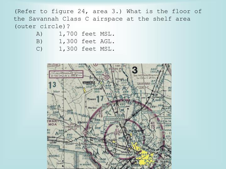 (Refer to figure 24, area 3.) What is the floor of the Savannah Class C airspace at the shelf area (outer circle)?