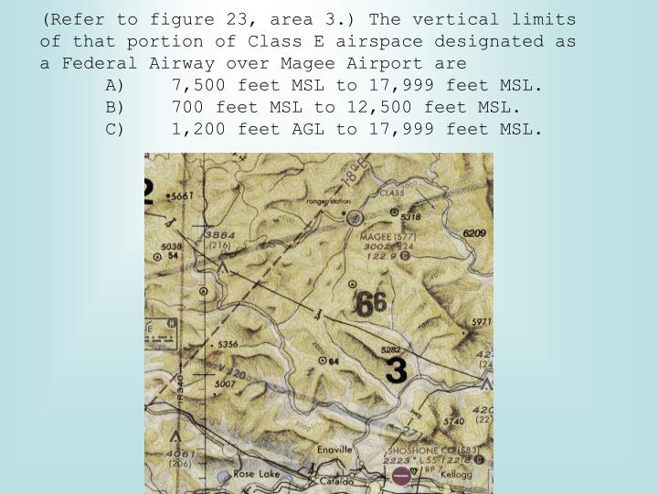 (Refer to figure 23, area 3.) The vertical limits of that portion of Class E airspace designated as a Federal Airway over Magee Airport are
