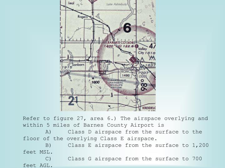 Refer to figure 27, area 6.) The airspace overlying and within 5 miles of Barnes County Airport is