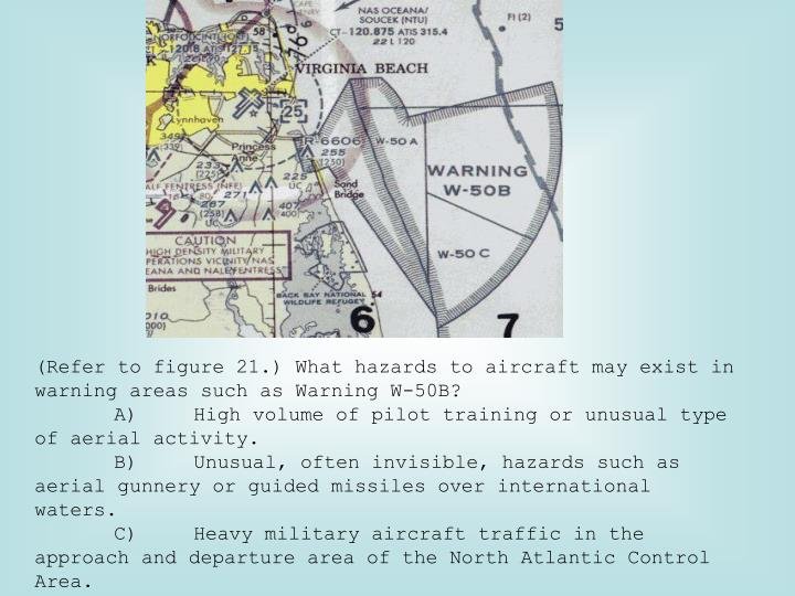 (Refer to figure 21.) What hazards to aircraft may exist in warning areas such as Warning W-50B?
