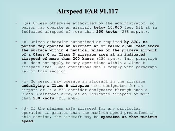 Airspeed FAR 91.117