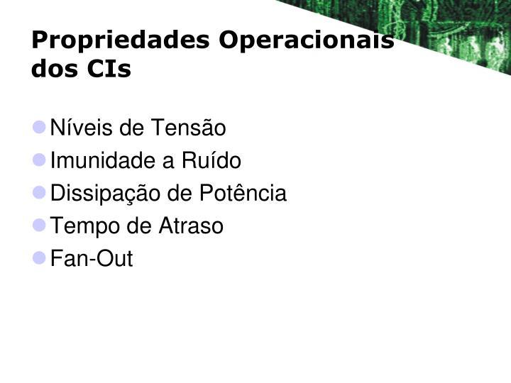 Propriedades Operacionais