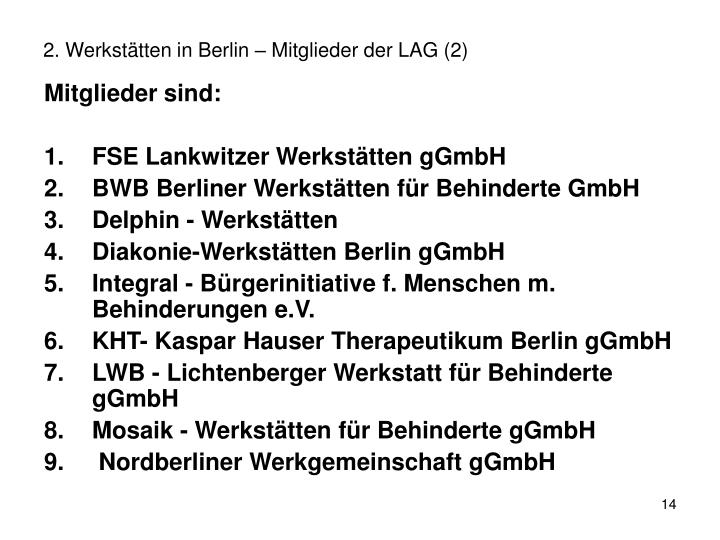 2. Werkstätten in Berlin – Mitglieder der LAG (2)