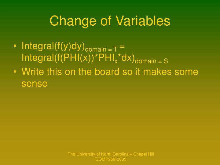 Change of Variables