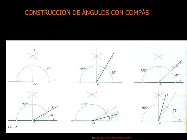 CONSTRUCCIÓN DE ÁNGULOS CON COMPÁS