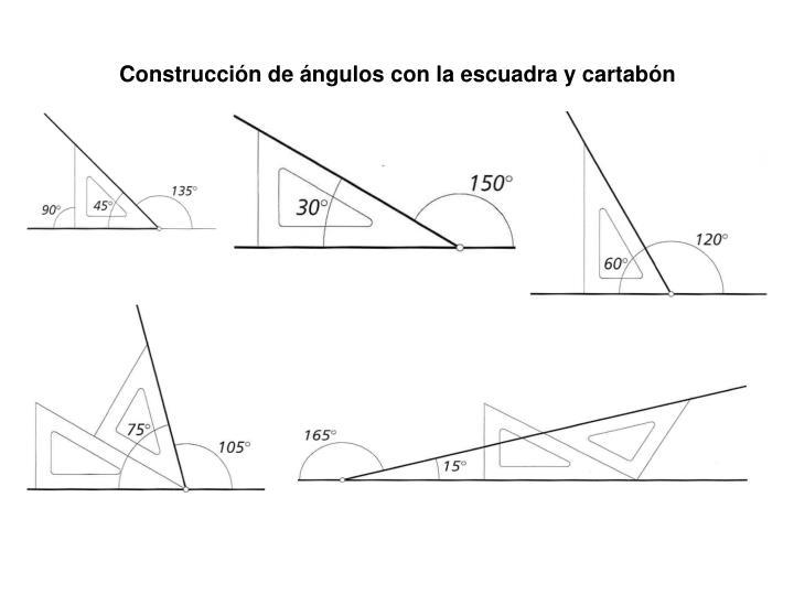 Construcción de ángulos con la escuadra y cartabón